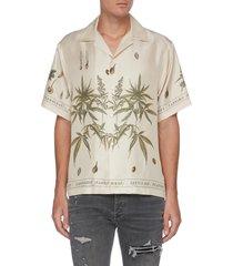 cannabis botanical print shirt