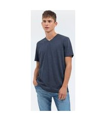 camiseta básica lisa com gola v | blue steel | azul | pp
