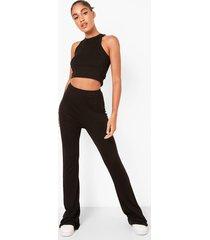 basic broek met hoge taille en wijde pijpen, black