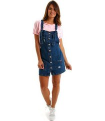 vestido equivoco salopete jeans feminino