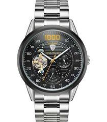 orologio meccanico da polso in acciaio inossidabile da uomo d'affari di lusso tevise per lui