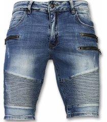 korte broek slim fit biker zippers shorts