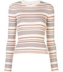 frame striped ribbed pullover - white
