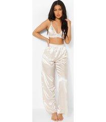 satijnen wide leg pyjama broek, cream