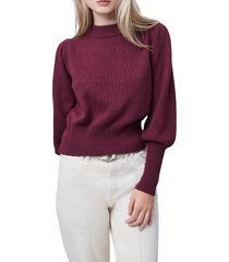 women's french connection puff sleeve crop sweater, size large - burgundy