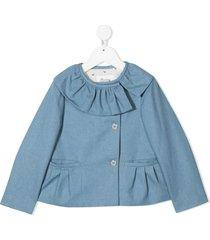 bonpoint ruffled-collar buttoned blazer - blue