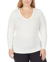 cuddl duds plus size softwear with stretch long-sleeve v-neck top