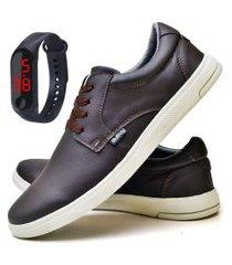 tênis sapatênis casual fashion com relógio led fine masculino dubuy 1401el marrom