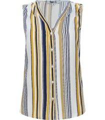 blusa con alforzas estampado lineas color amarillo, talla 10