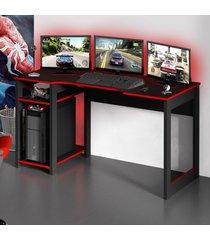 mesa gamer dark para 3 monitores preto/vermelho - pnr móveis