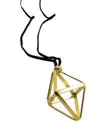 collar de mujer oro pendente geometrico rombo brass colection by vestopazzo