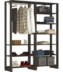 guarda roupa closet 2 peças c/ 1 cabideiro e 9 nichos yes nova mobile