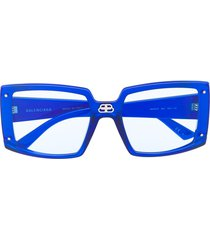 balenciaga eyewear shield oversized square-frame sunglasses - blue