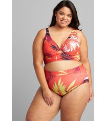 lane bryant women's eco-friendly underwire plunge keyhole swim bikini top 46ddd vibrant palms