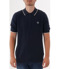 fred perry textured front knitted polo shirt - deep carbon k5521-e97
