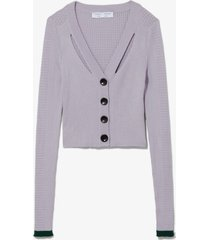proenza schouler white label fine gauge rib cropped knit cardigan lavender/pine/purple l