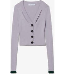 proenza schouler white label fine gauge rib cropped knit cardigan lavender/pine/purple m