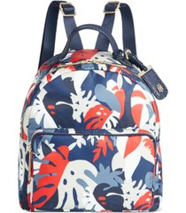 tommy hilfiger julia tropical palm nylon dome backpack, created for macy's