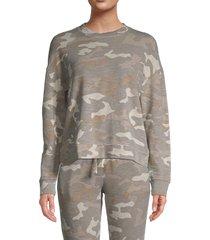 monrow women's urban camo sweatshirt - sand - size l
