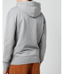 maison kitsuné men's grey fox head patch classic hoodie - grey melange - xxl