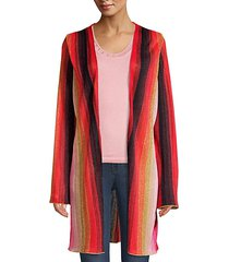 striped lurex open-front cardigan
