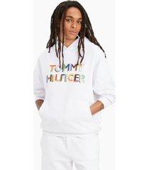 tommy hilfiger women's pride popover hoodie white - xxxs