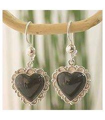 dark green jade heart earrings, 'zinnia love' (guatemala)