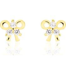 orecchini in oro giallo e zirconi fiocco per donna