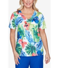 alfred dunner watercolor tropical embellished yoke knit short sleeve knit top
