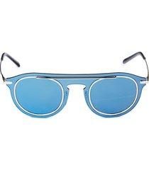 dolce & gabbana women's 46mm mirrored round sunglasses - blue