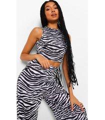 mix & match ingekorte zebraprint pyjama met racer hals, black