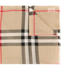 burberry lightweight check scarf - brown