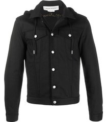 alexander mcqueen denim sweatshirt jacket - black