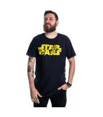 camiseta dupla face star wars saga preto