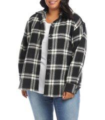 plus size women's karen kane plaid shirt jacket, size 2x - black