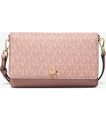 mk borsa a tracolla convertibile in pelle con logo - ballet (rosa) - michael kors