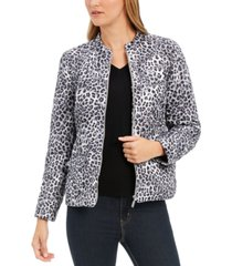 charter club animal-print jacket, created for macy's