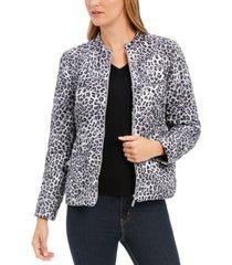 charter club animal-print jacket, created for macy's