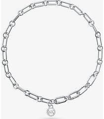 mk collana base in argento sterling con placcatura in metallo prezioso e maglie a catena - argento (argento) - michael kors
