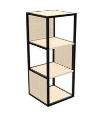 estante módulo tubular multiuso unitá 3 nichos madeirado claro