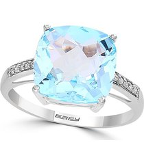 effy women's march 14k white gold, sky blue topaz & diamond ring - size 7