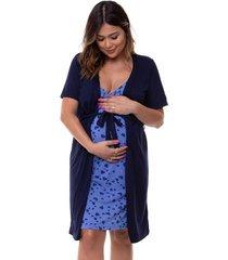 jogo de camisola amamentação maternidade corações com regulagem luna cuore