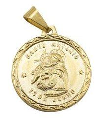 pingente tudo jóias santo antônio folheado a ouro 18k