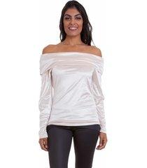 blusa versani ombro a ombro feminina