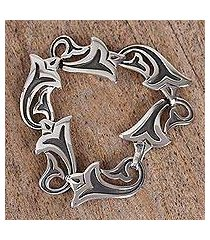 sterling silver link bracelet, 'trumpets' (mexico)