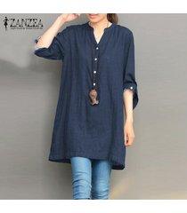 blusa casual con botones y cuello v zanzea para mujer-azul
