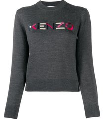 kenzo embroidered logo wool pullover - grey