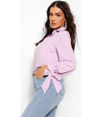cotton mix balloon tie sleeve shirt, lilac