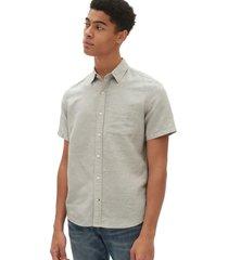 camisa lino blend manga corta hombre gris gap
