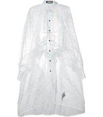 miaoran polda-dot chiffon shirt dress - white